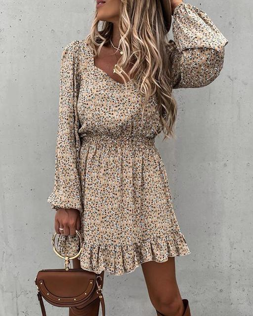 Spring Fashion Women's Long Sleeve Mini Dresses Square Collar and Elastic Waist Ruffle Flora Print Sweet Style Party Dress 2021 2