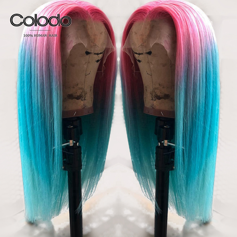 COLODO Glueless 613 Lace Front Wig 13X4 Ombre Human Hair Wig Remy Hair Brazilian Pre Plucked Blue Straight Wigs for Black Women image