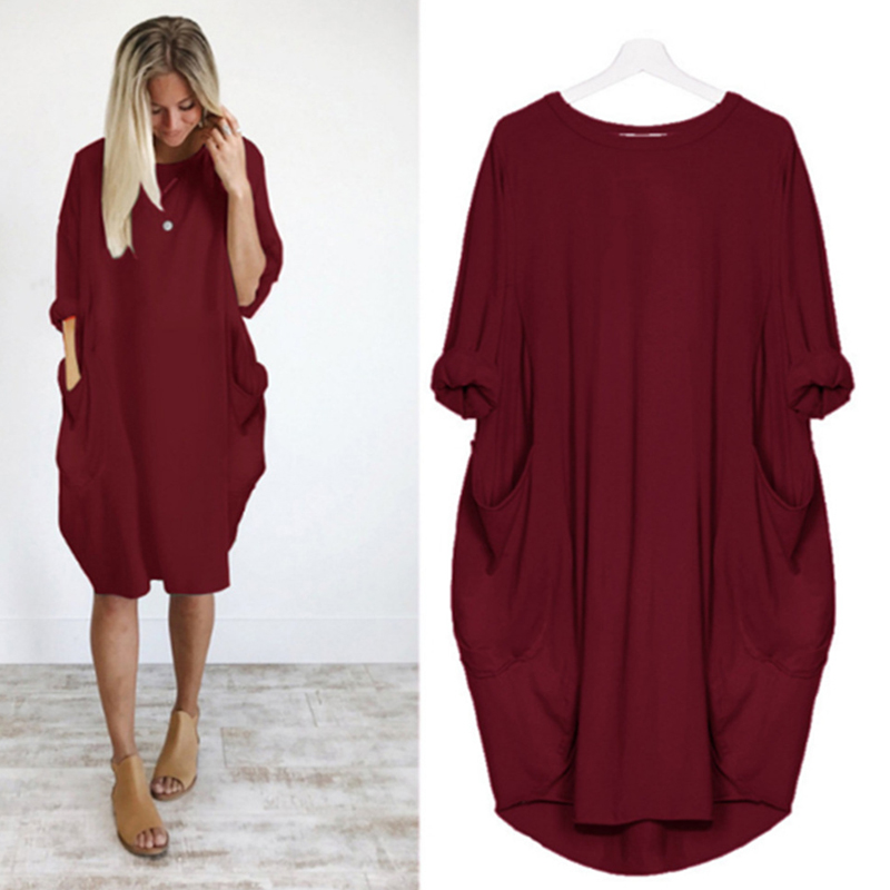 2021 Spring Autumn Women O Neck Loose Party Dress Long Sleeve Mini Dress Red Casual Solid Beach Dresses Plus Size 5XL