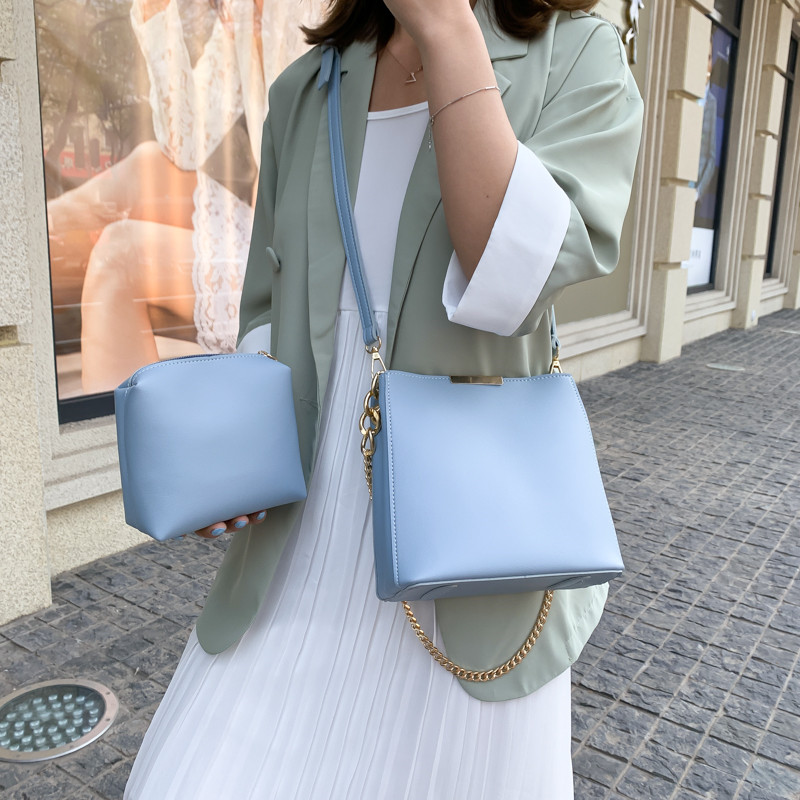 Classic Blue Women Bucket Bag Set Crossbody Messenger Handbags Lady Chain Composite Bags New Simple Designer Female Shoulder Bag