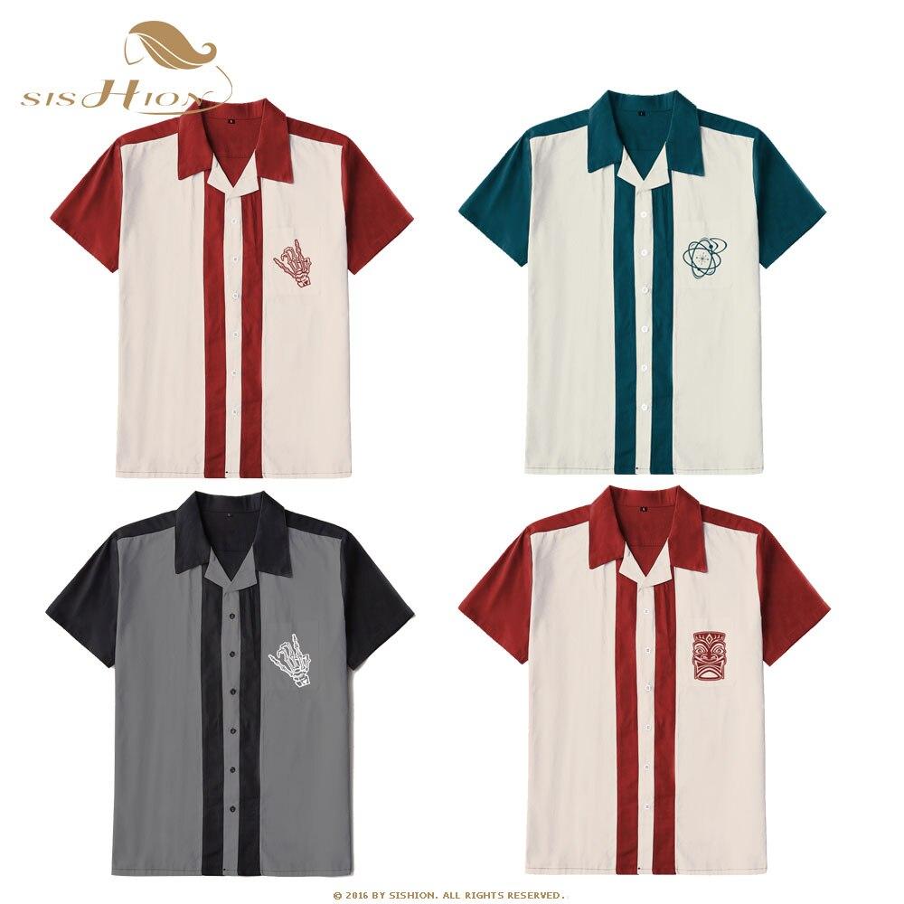 SISHION Chemise Homme ST127 Short Sleeve Retro Vintage Rock Rockabilly Plus Size Cotton Men Shirt Button-Down Bowling Shirts