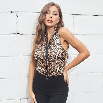 Leopard Skin Prinetd Bodysuit Autumn Casual Jumpsuit Bodysuit Slim V Neck Leotard Tops Fashion Slim Bodysuit Women Long Sleeve