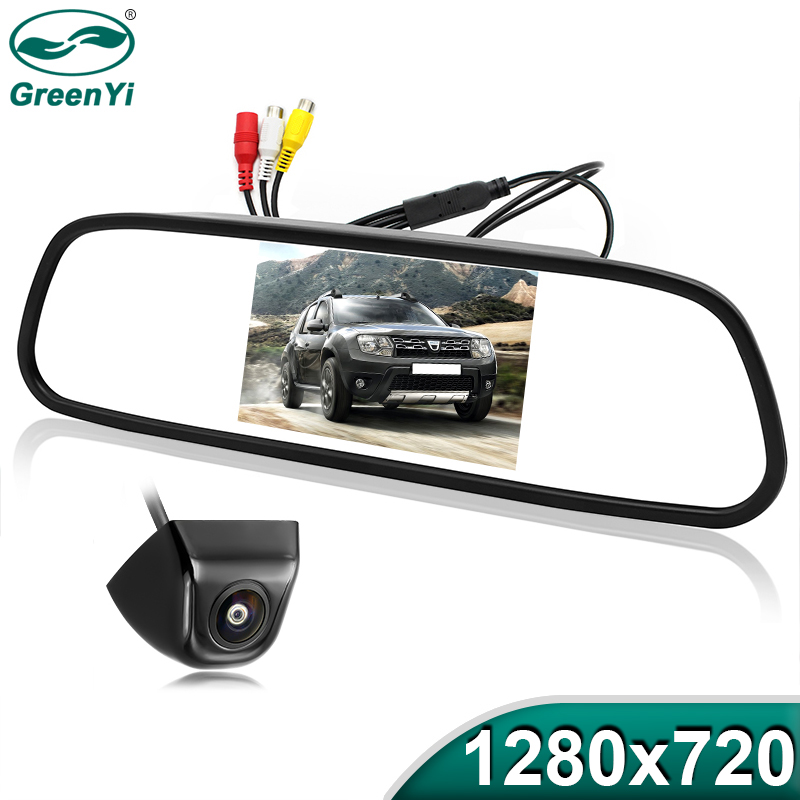Greenyi Car-Mirror-Monitor Reverse-Camera High-Definition 5inch Night-Vision Vehicle-Backup title=