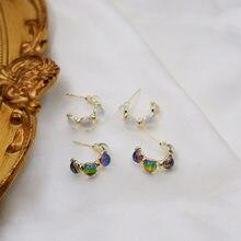 Fashion Opal C Shaped Earrings Simple Vintage Temperament pendientes Wholesale