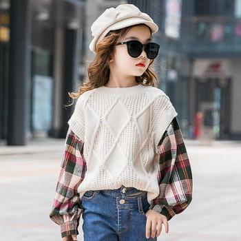 Girls Cardigan Sweater 10 12 Years Autumn Plaid Big/baby Girls Knitted Cardigan Sweaters Sports Toddler Girls Pull Fille 8 9 11