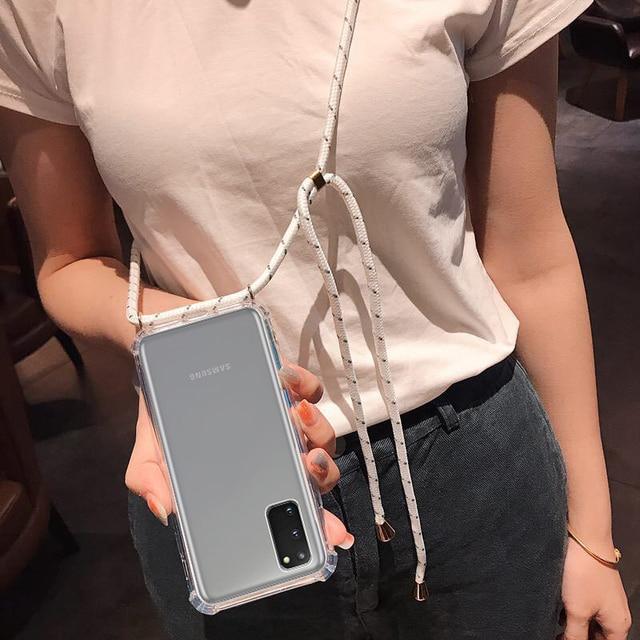 עבור Samsung Galaxy הערה 20 במיוחד S10 S9 S20 בתוספת A51 4G A71 5G Crossbody כיסוי עם שרוך שרשרת כתף צוואר רצועת מקרה