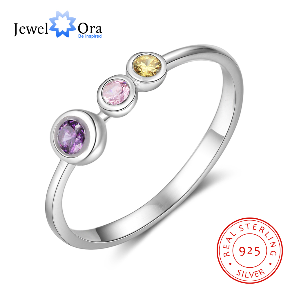 JewelOra 925 Sterling Silver Personalized Mother Ring With Birthstone Custom Family Rings For Women DIY Silver 925 Fine Jewelry