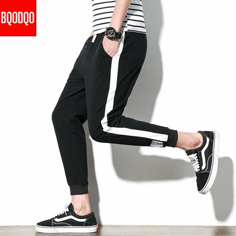 Baggy Black Cotton Joggers Casual Ninth Pants Men Autumn Blue Hip Hop Sweatpants Male Harem Japanese Sport Streetwear Trousers