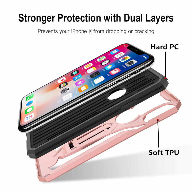 المضادة للخبط درع حقيبة لهاتف أي فون 11 برو ماكس 5 5s SE 6 6S 7 8 Plus X XS ماكس XR كامل الجسم واقية حامل صدمات الغطاء الخلفي