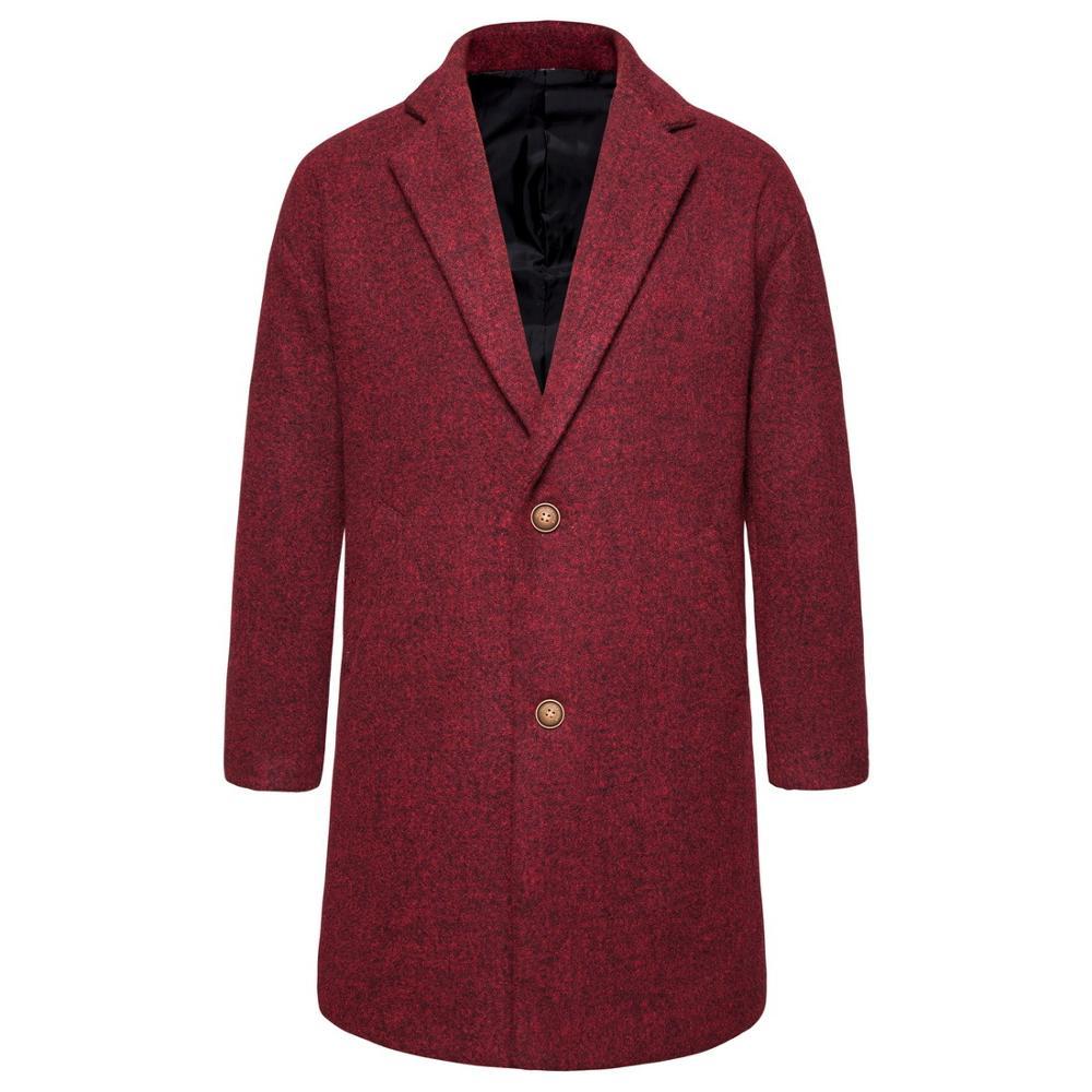Man Winter Black Coat Plus Size Woolen Blend Coat Male Long Windbreaker Jacket Thick Cotton Warm Men Jacket Mens Overcoat
