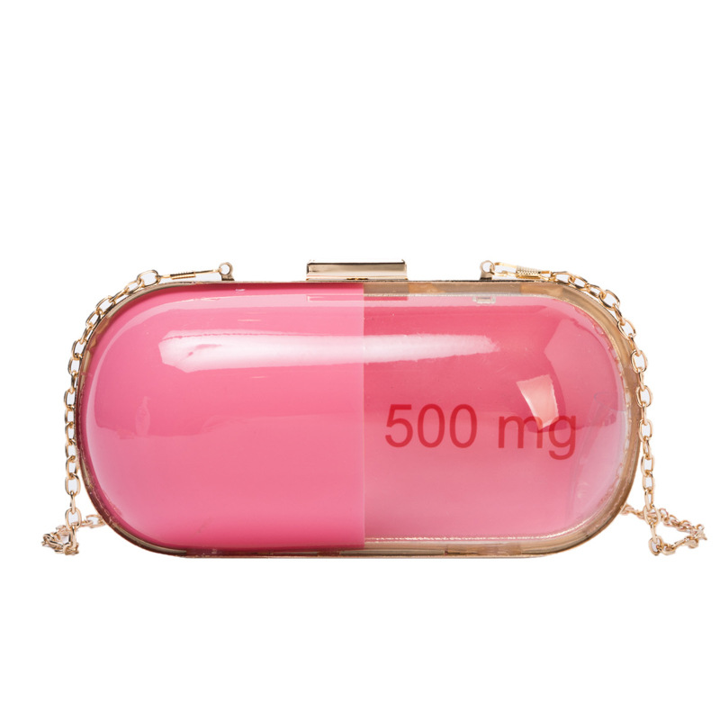 Fun Fashion Design Splicing Color Pill Shape Ladies Day Clutches Chain Shoulder Bag Handbag Female Crossbody Mini Messenger Bag