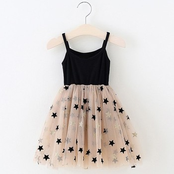 Sequins Star Tulle Dress for Girl Winter Long Sleeve Knitted Dresses Christmas Party Vestidos Baby Children Birthday Clothing 1