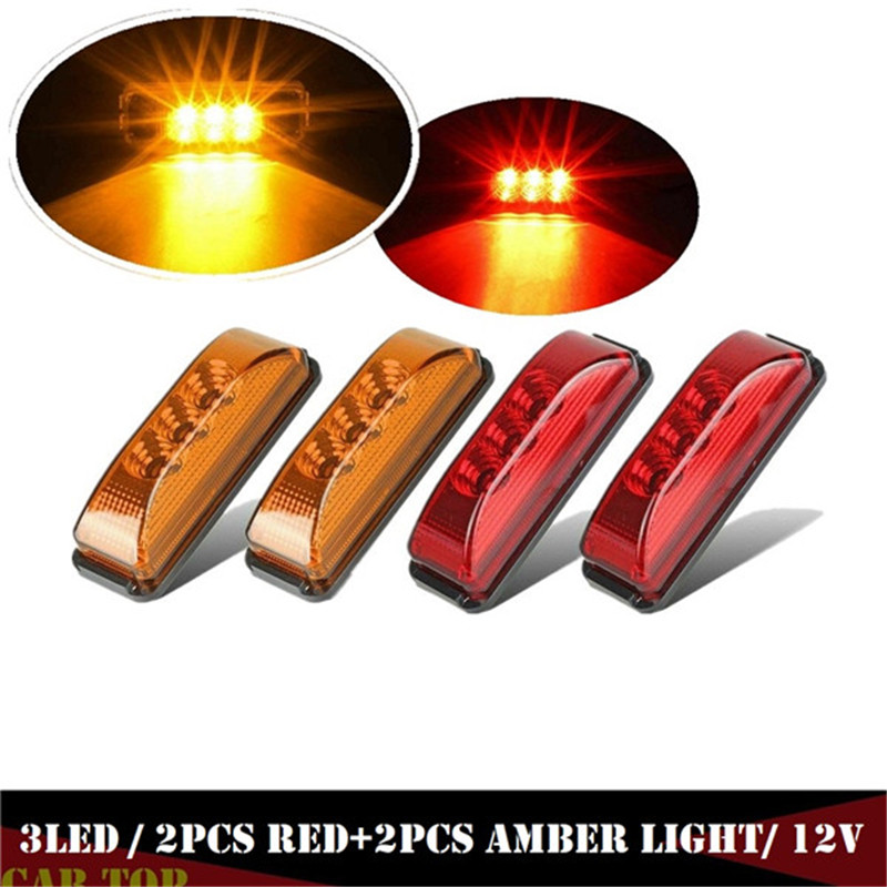4PCS Marker Lights For Trailers Clearance Side Fender Marker Light Trailer Truck RV 12V Parking Lights For Truck 2xAmber+2xRed