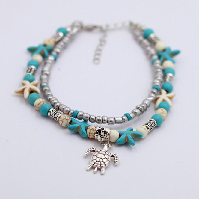 Europe and America Bohemian style double-layer beach sea turtle starfish anklet sea wave beach turtle anklet
