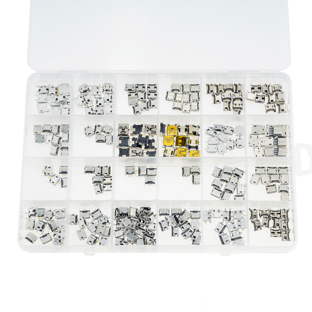 240PCS/BOX 24 Models Each 10PCS Micro Female USB Connector Usb <font><b>Jack</b></font> Socket Female For MP <font><b>3</b></font> 4 <font><b>5</b></font> Other Mobile Accessories image