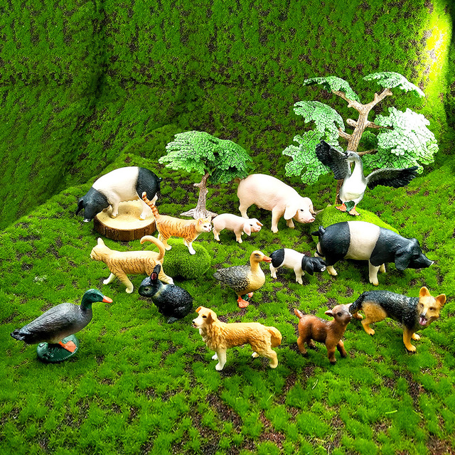 Small Pig Cat Dog Rabbit Goat Sheep Duck animal model figurines Bonsai home decor miniature fairy garden decoration accessories 6