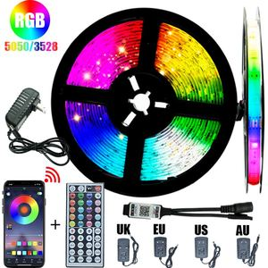Bluetooth LED Strip Light 20M RGB 5050 3528 WIFI Waterproof Flexible Lamp Tape Ribbon WithDiode Tape 5M 10M 15M Music Sync Color