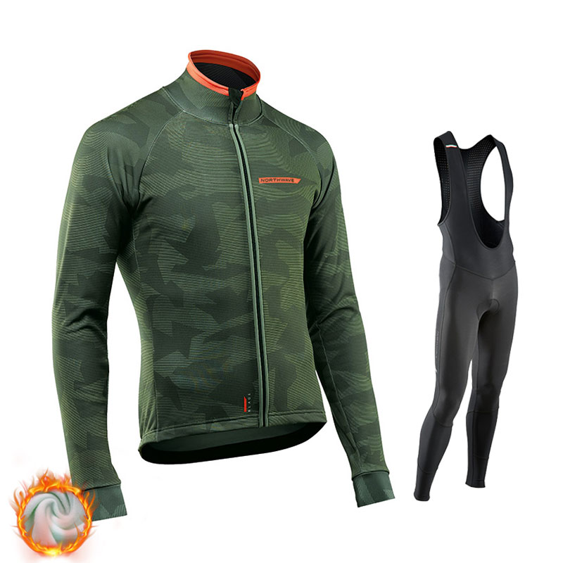2019 Northwave Winter Thermal Fleece Cycling Jersey Set Warmer Ropa Ciclismo Men Long Sleeve MTB Cycling Clothing Triathlon Suit