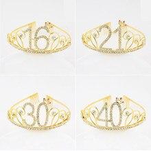 Bandeau couronne diadème de princesse pour femmes, 16, 18, 21 ans, accessoires pour cheveux, coiffure, mariage, anniversaire 30