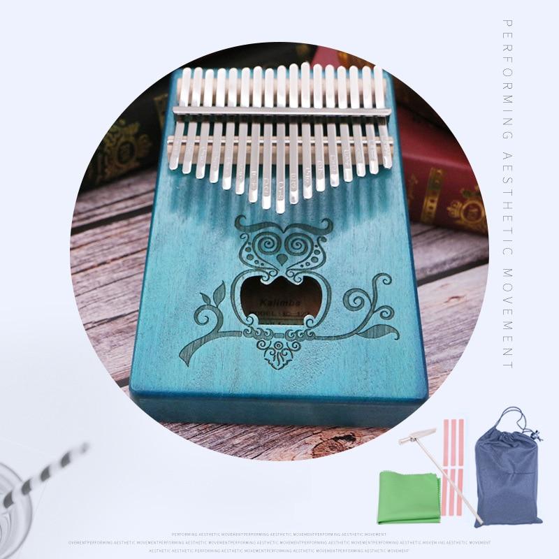 Instrumento de Piano de Dedo para Iniciantes Presente de Aniversário Kalimba Teclas Piano Lindo Coruja Madeira Sólida Mogno 17