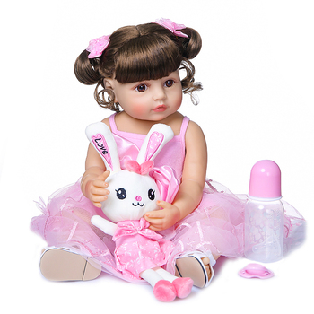 "Sweet girl baby reborn toddler doll 23"" full silicone vinyl body reborn babies dolls toys pink dress princess doll gift"