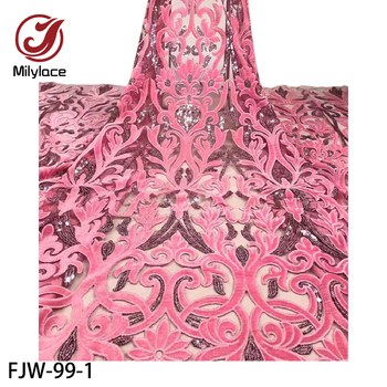 African Lace Fabric High Quality Lace African Velvet Sequins Lace Fabric Nigerian Lace Fabrics Wedding FJW-99