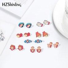 Boucles d'oreilles en résine époxy, nouveau dessin animé Ponyo poisson rouge filles, acrylique, bijoux