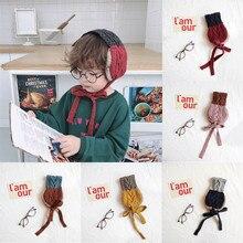 Детский шарф 2 в 1, теплые плюшевые наушники для ушей на зиму и осень, милая модная женская повязка на голову, зимние аксессуары, наушники