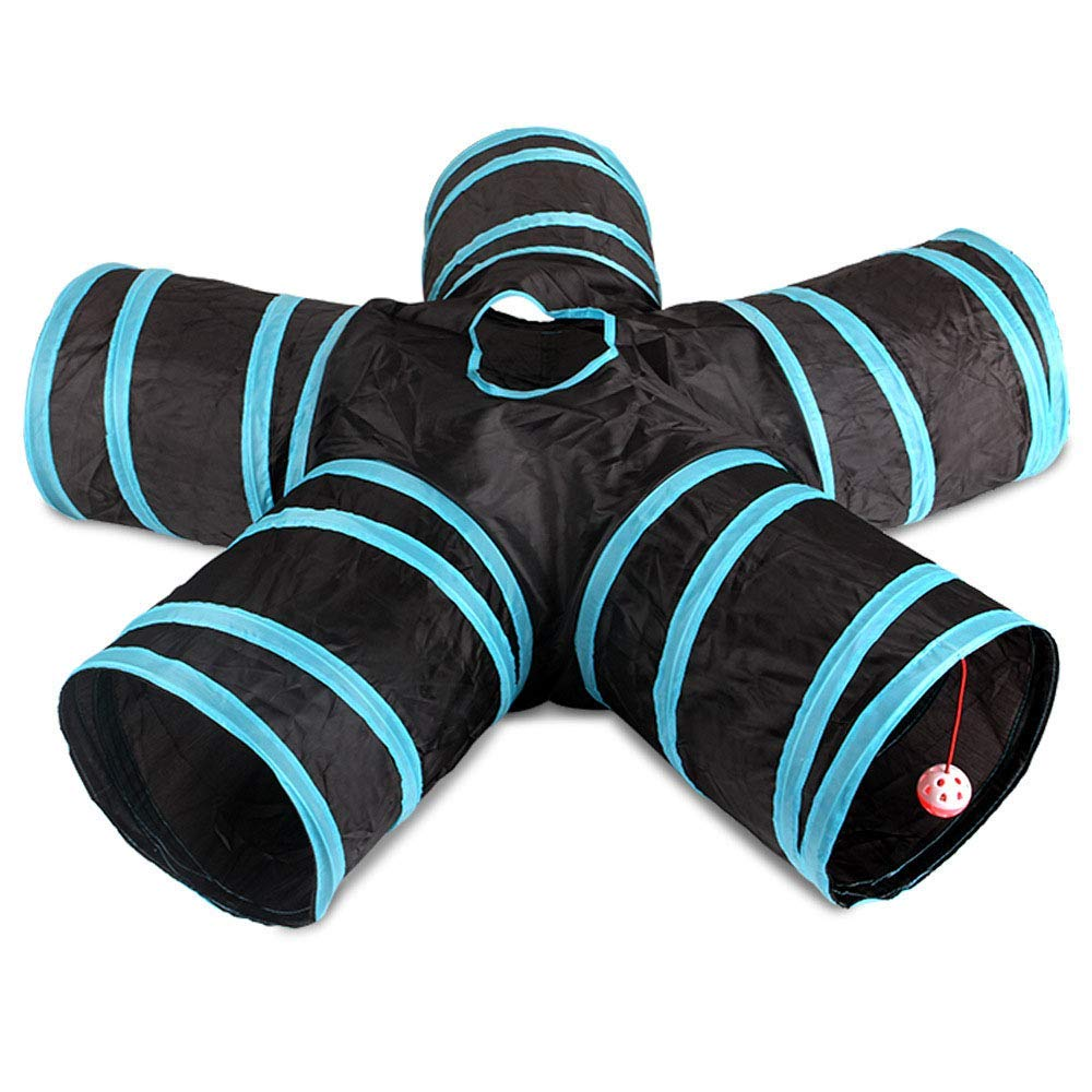 Cat Tunnel, 5-Way Foldable Pet Toy Tunnel - Rabbit, Cat and Dog Game Pipe - Black blue image