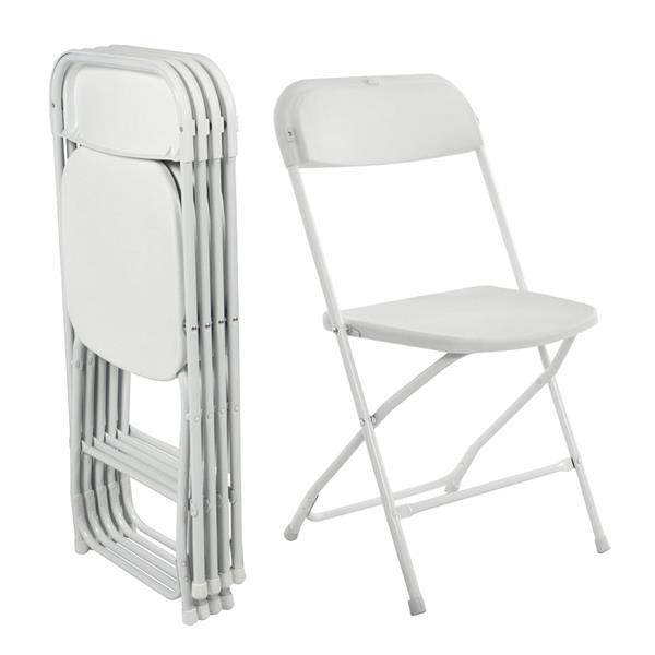 5PCS 40X40CM Portable Plastic Folding Chairs Classic Pure White Outdoor Chair Humanized Treatment Beach Chair