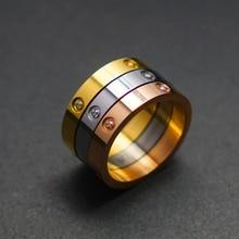 Модные трендовые кольца для пар, подходят для женщин и мужчин, для влюбленных, роскошное Кристальное кольцо из нержавеющей стали, свадебные ювелирные изделия на День святого Валентина, лучший подарок