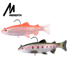 MEREDITH Trout Silicone Bait Soft Baits Wobblers 12cm 15cm Lead Head PVC Fishing Lures Artificial T Tail