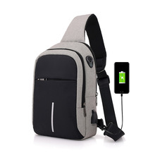 New Chest Pack Mens Reflective USB Charging Shoulder Canvas Dacron Business Casual Travel Waterproof Bag