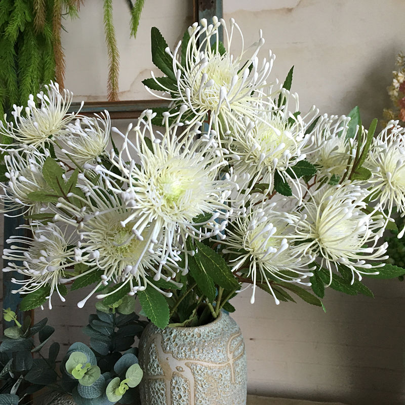 3Heads/branch Leucospermum Artificial Flowers for Wedding decoration flores artificiales plastic fake flowers fleur <font><b>artificielle</b></font> image
