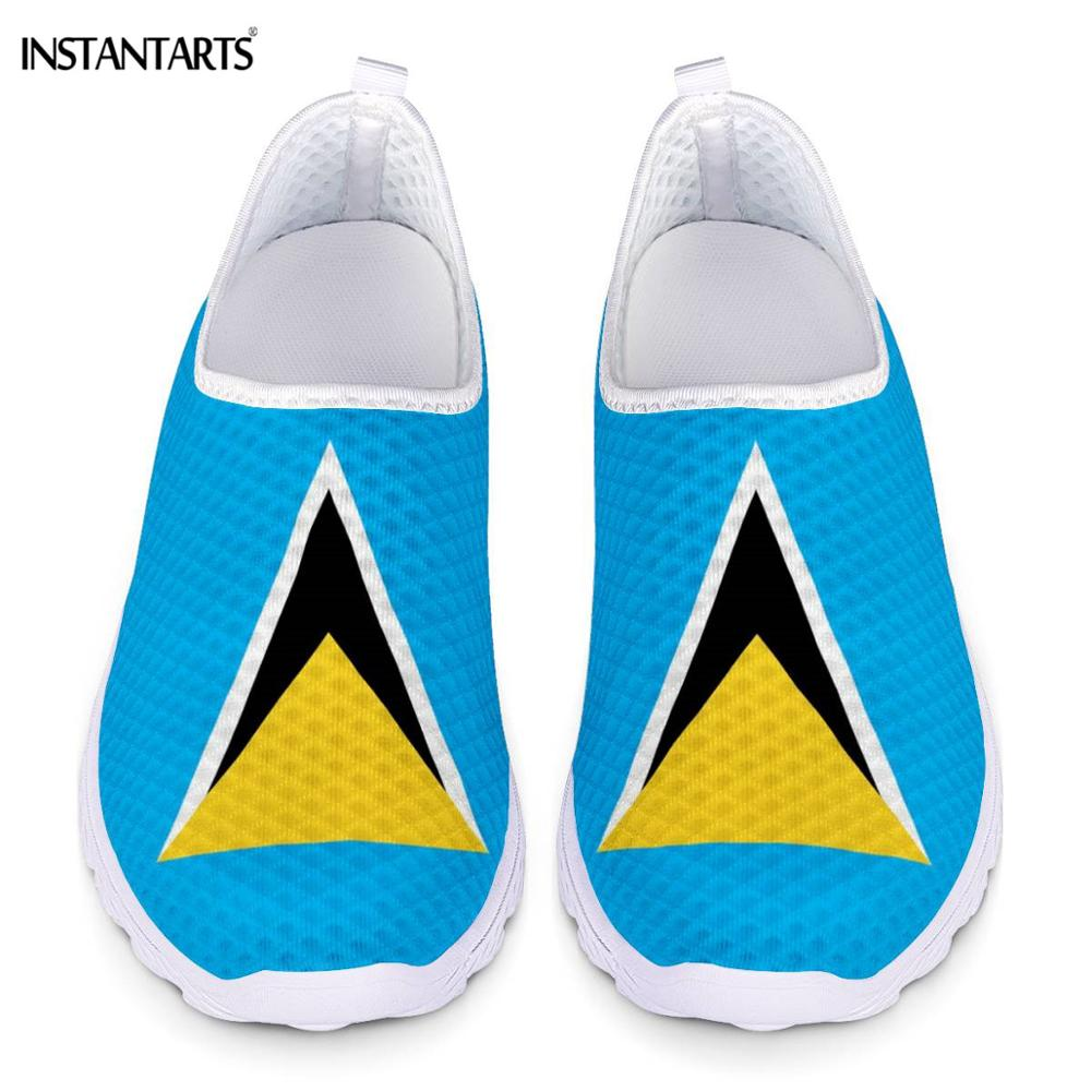 INSTANTARTS Saint Lucia Flags Print Summer Running Shoes For Women Slip On Air Mesh Sneakers Outdoor Lightweight Sport Shoes