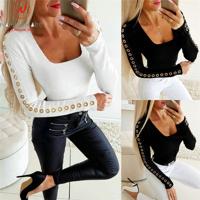 Elegant Women Long Sleeve T-Shirts for Streetwear Corn Eye Patchwork Design Hollow Out Square Collar Solid Autumn Pullover Top