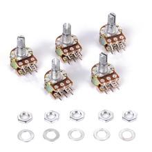Линейный потенциометр WH148, 5 шт./лот, B10K, B1K, B2K, B5K, B20K, B50K, B100K, B500K, B1M, 15 мм вал с гайками, шайбами, 6 штырьков для Arduino