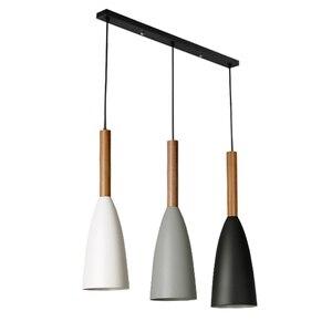 Image 3 - מינימליסטי מודרני עץ תליון מנורות בר מסעדה Hanglamp דקור E27 נורדי תליון אורות אמנות אופנה תליית מנורה