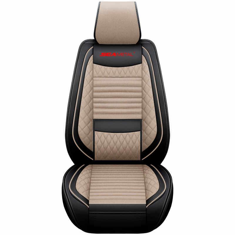 Роскошный кожаный чехол для автомобильного сиденья, набор протекторов, чехол для стула с льняной подушкой, универсальный, подходит для большинства седанов, внедорожников, маленьких грузовиков