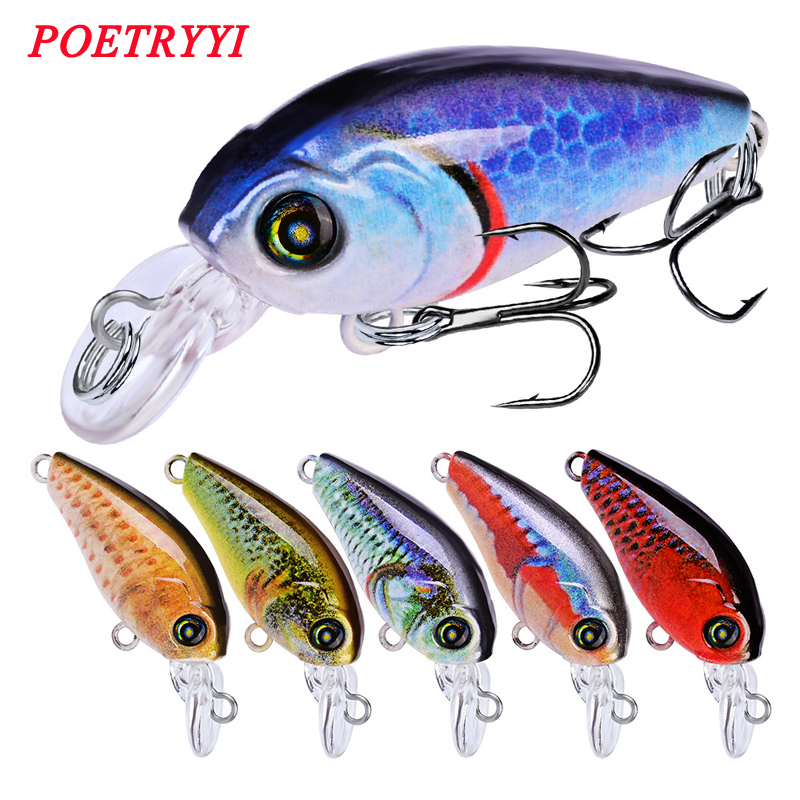1pcs/lot 47mm 4g Swim Fish Fishing Lure Artificial Hard Crank Bait topwater Wobbler Mini Fishing Crankbait lure fishing tackle