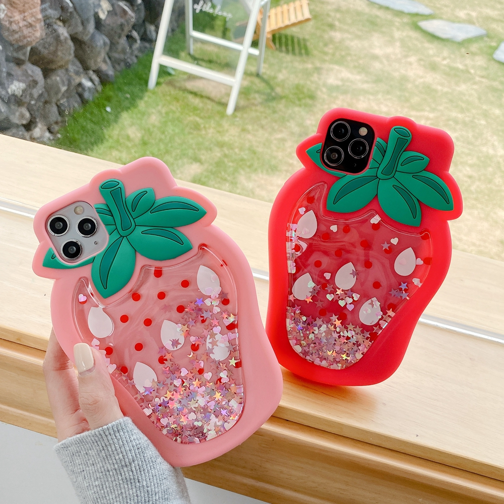 3D Strawberry Dynamic Liquid Quicksand Star Phone <font><b>Case</b></font> For <font><b>iphone</b></font> SE 2020 <font><b>XS</b></font> MAX 7 XR 6 8plus 11 PRO Soft Silicone Glitter Cover image