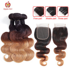 Ombre-Color Honey-Blonde Closure Human-Hair-Bundles Applegirl with Brazilian Body-Wave