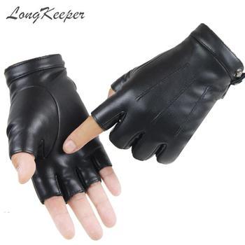Guantes de medio Dedo de diseño de marca de LongKeeper Guantes de invierno de cuero negro de PU para hombre y mujer Guantes Luvas de terciopelo de conducción de moda