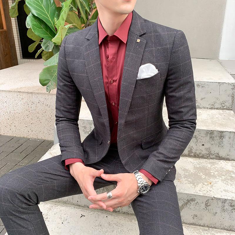 Luxury 2 Pieces Suits Set Mens Korean Style Design Fashion Male Checked Suit Autumn Thick Slim Fit Plaid Wedding Dress Tuxedos