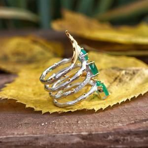 Image 2 - GEMS בלט 2.26Ct טבעי ירוק אגת חן אצבע טבעות 925 סטרלינג רסיס אופנה להקת טבעת לנשים מתנות