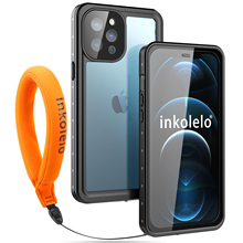Inkolelo iPhone 12 Pro Max Waterproof Case Built-in Screen IP68 Full Sealed Shockproof Cover for Summer Swimming Diving Black
