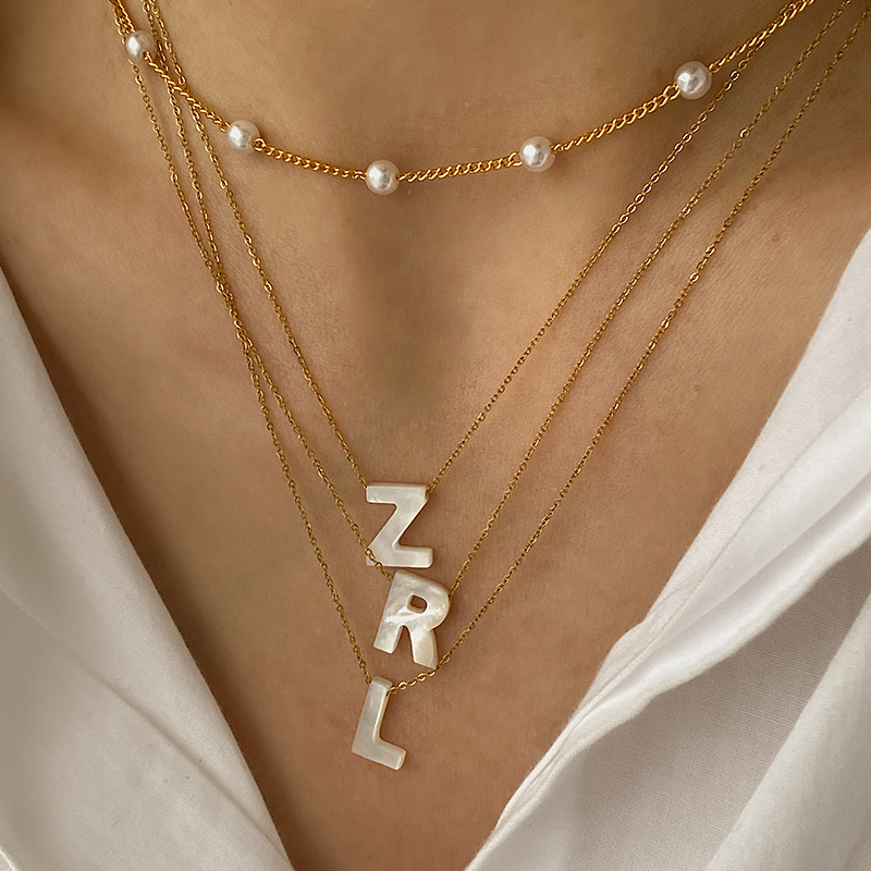 Peri'sBox Natural Sea Shell Letter Necklace Thin Chain Initial Necklaces for Women Dainty Pearl Choker Necklace Collier Coquilla