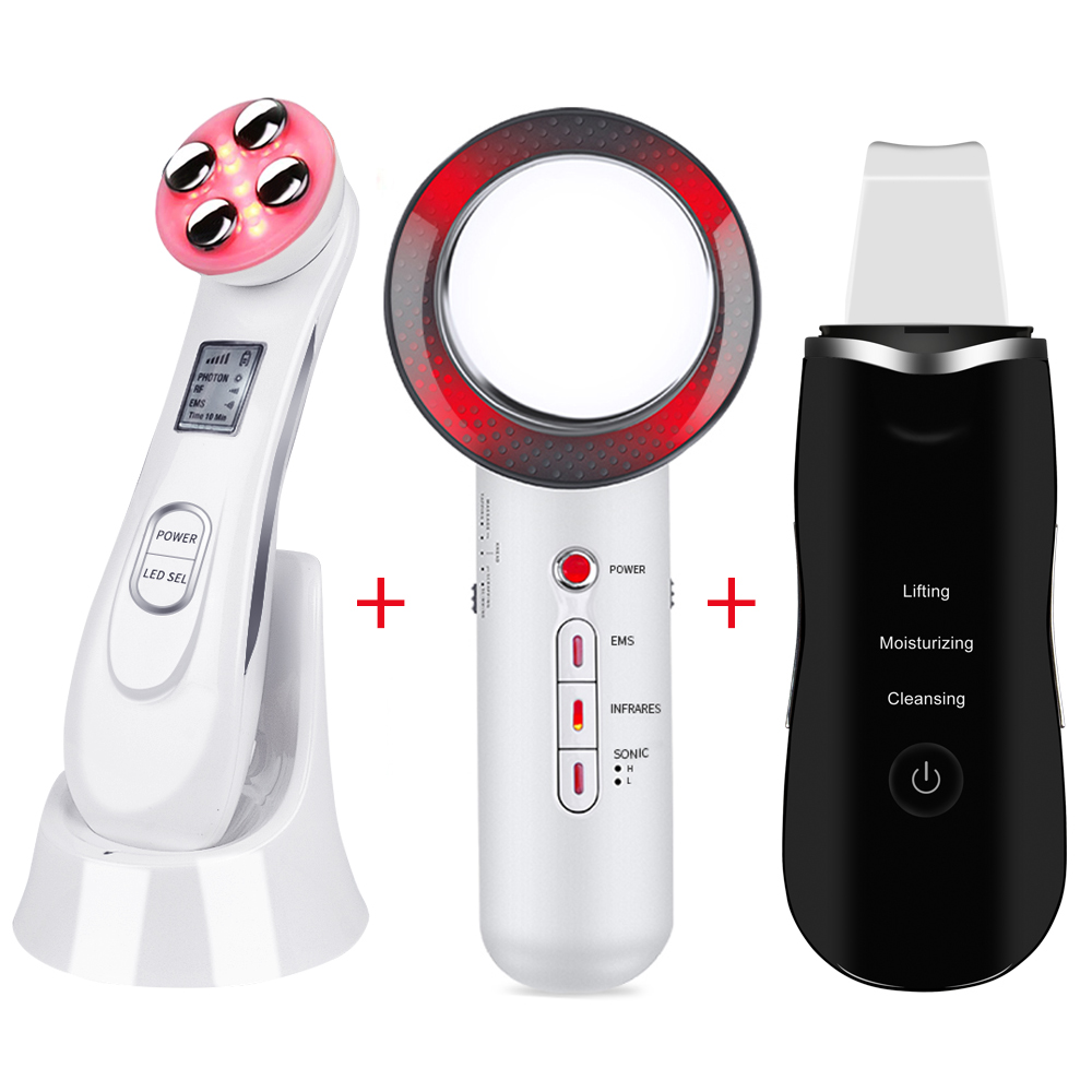 Ultrasoic Skin Scrubber Face Cleaning Peeling Machine RF EMS LED Light Facial Massager Far Infrared Body Slimming Fat Burner46