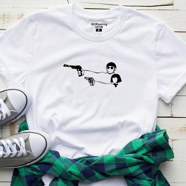 Harajuku Valentine's Day Gift Movie Leon The Professional T Shirt Men Women top tees Cartoon Leon Matilda Funny Couple T-shirt 3