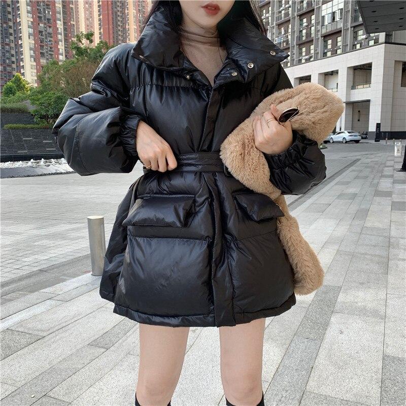HziriP, Женские однотонные парки больших размеров с поясом на молнии, новинка 2019, OL стиль, зимнее женское теплое пальто, корейская модная женская куртка on AliExpress